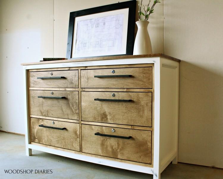 6 drawer dresser used as bottom base of entertainment center build