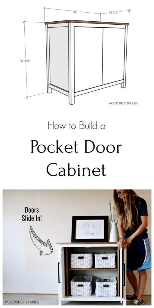 Pinterest collage of overall pocket door cabinet dimensions and Shara with cabinet doors open showing off the inside