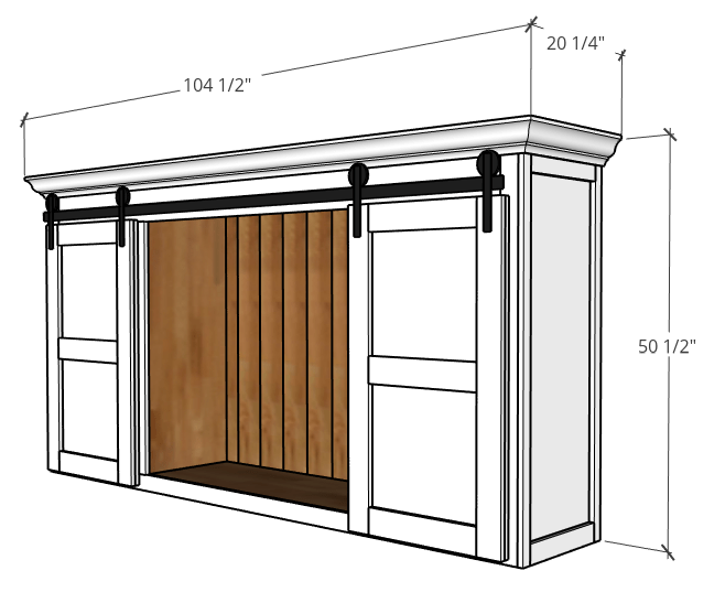 Overall dimensions of top portion of large DIY sliding door entertainment center