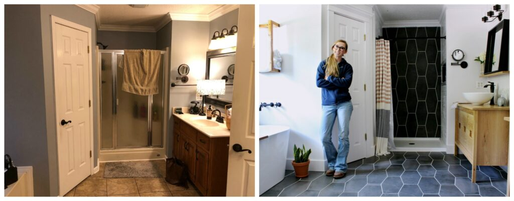 Side by side before and after master bathroom renovation graphic