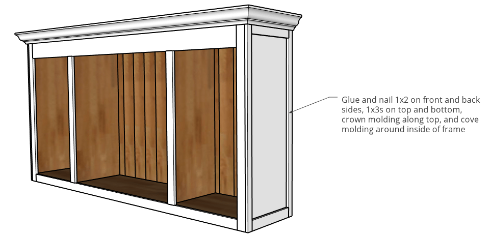 Trim pieces added to top cabinet
