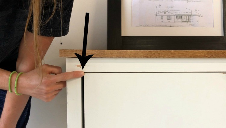 "¼"" gap on sides of door with ⅛"" gap on top of door close up"