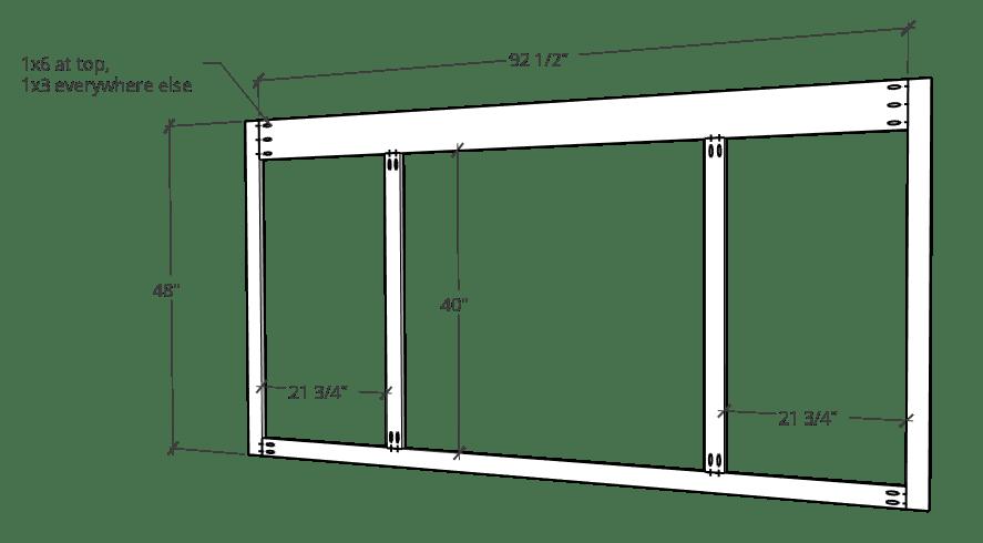 Face Frame diagram for sliding door entertainment center