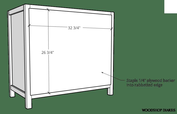 "Staple ¼"" plywood panel onto back of pocket door cabinet frame"
