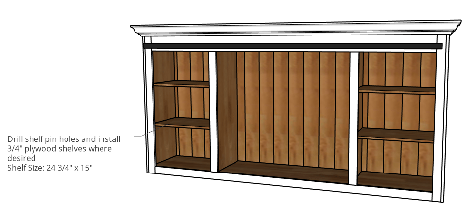 Add adjustable shelves to cabinet diagram