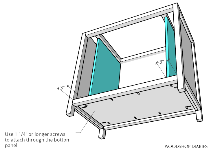 Screw inside panels in place through bottom of cabinet diagram