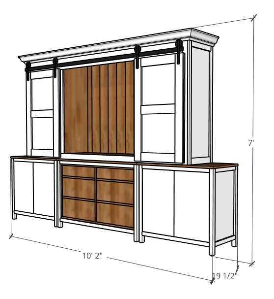 overall diy sliding door entertainment center project dimensions