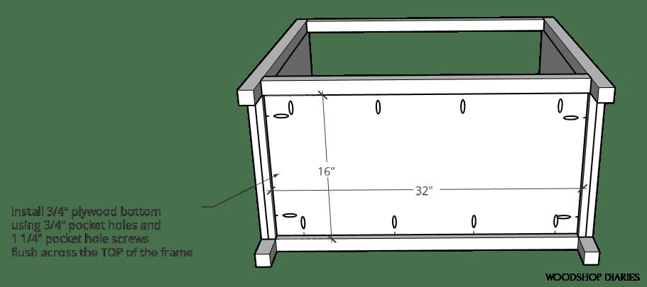 Bottom panel of pocket door cabinet installed using pocket holes and screws diagram