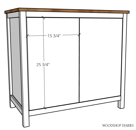 Door dimensions of pocket door cabinet diagram