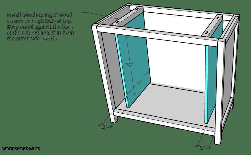 Installing inside panels for pocket door cabinet