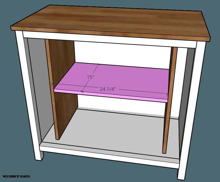 Adjustable shelf dimensions for pocket door cabinet