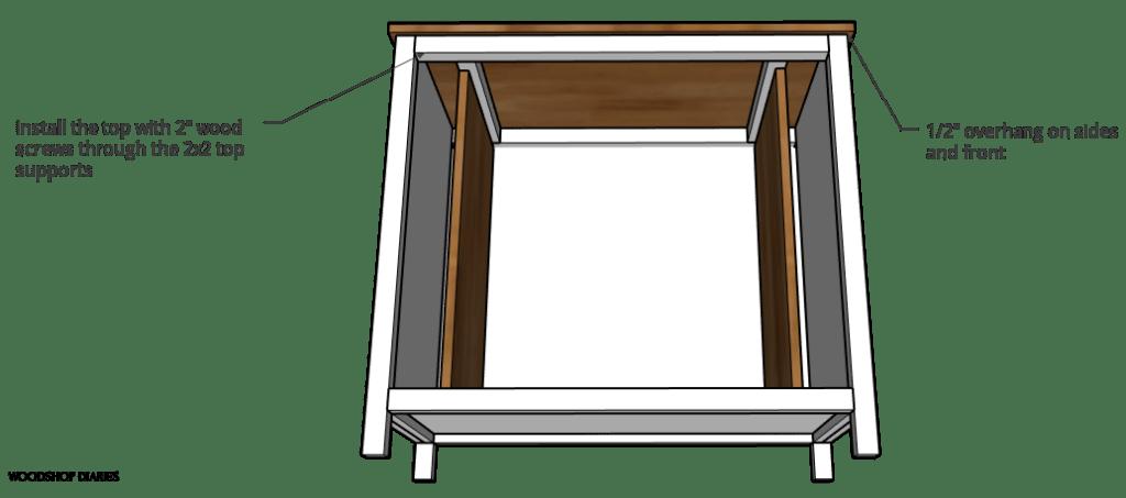 Installing top panel through 2x2 frame diagram