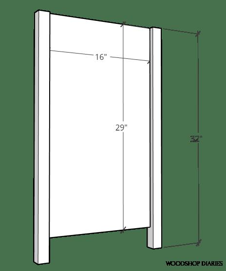 Side panel diagram of pocket door cabinet assembly
