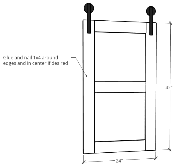 Overall size of sliding doors diagram