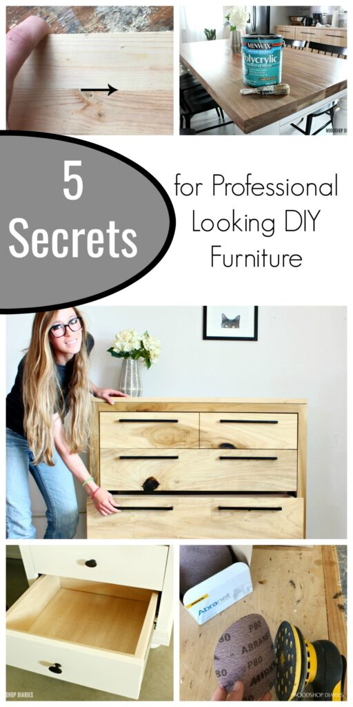 pinterest collage image for 5 secrets  for professional looking DIY furniture