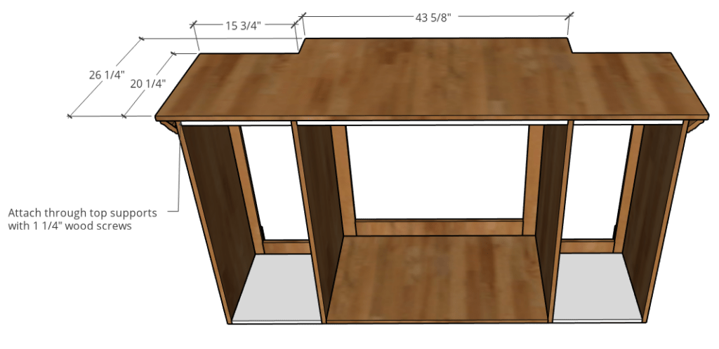 top dimension diagram with corners cut out to fit around crown molding on console cabinet