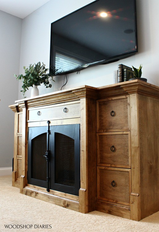 Finished photo of DIY dog crate console cabinet that could also be a fake fireplace console, too