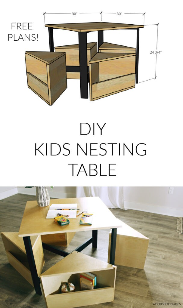 Pinterest collage image of overall table dimensions at top and finished table on bottom