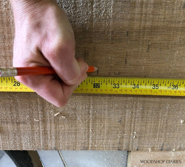 "mark 32"" long on rough sawn wood"