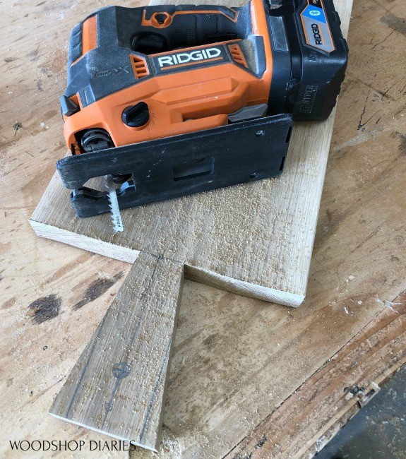 Jig saw used to cut handle into tray