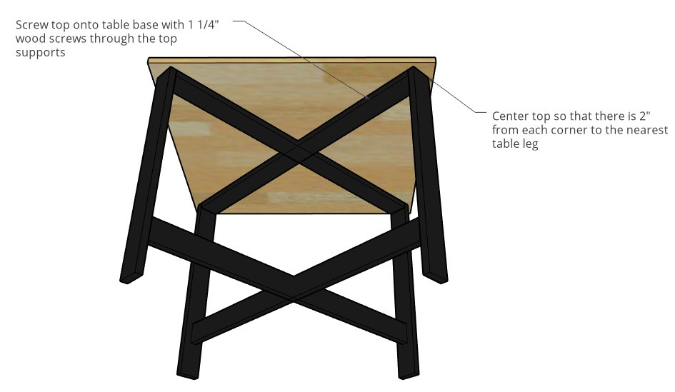 Installing table base to table top diagram