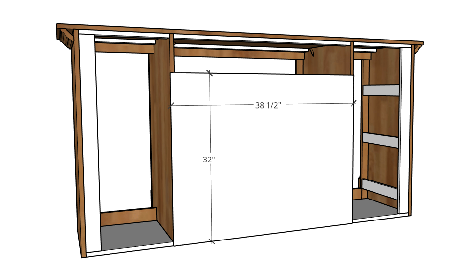 Attach back panel to dog crate console cabinet project