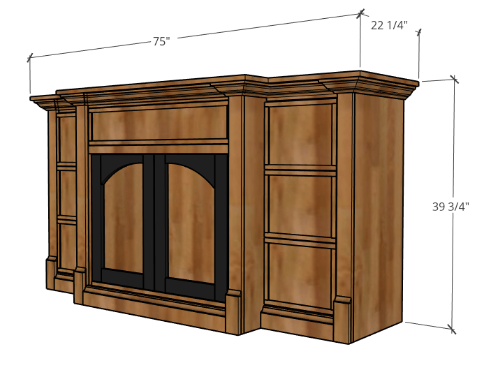 Overall dimensions of dog crate console diagram