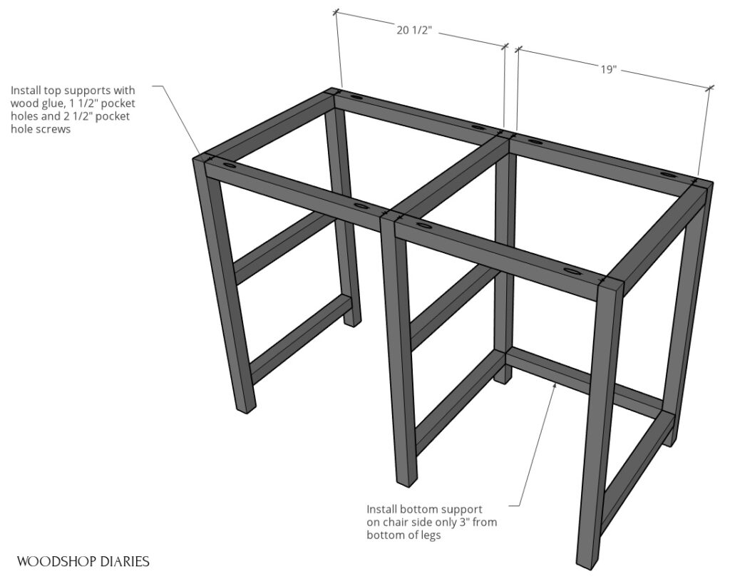 Install top desk frame pieces between left, middle, and right sides