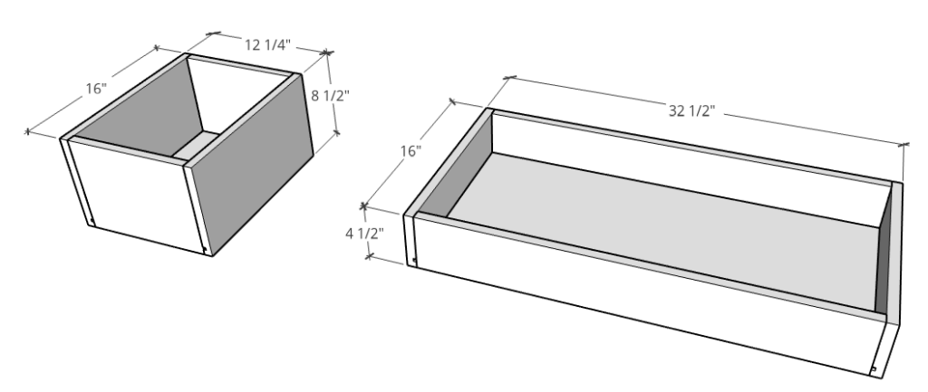 drawer box dimensions for dog crate console
