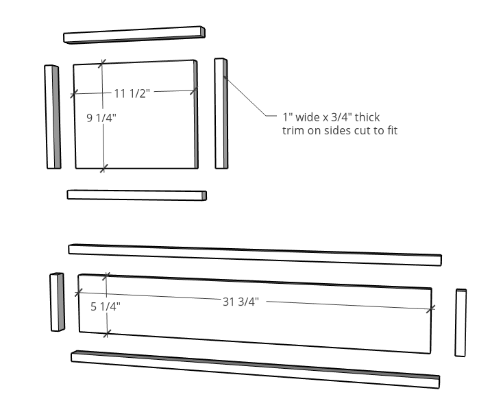 """exploded view of drawer fronts for console cabinet with 1"""" trim added around edges"""