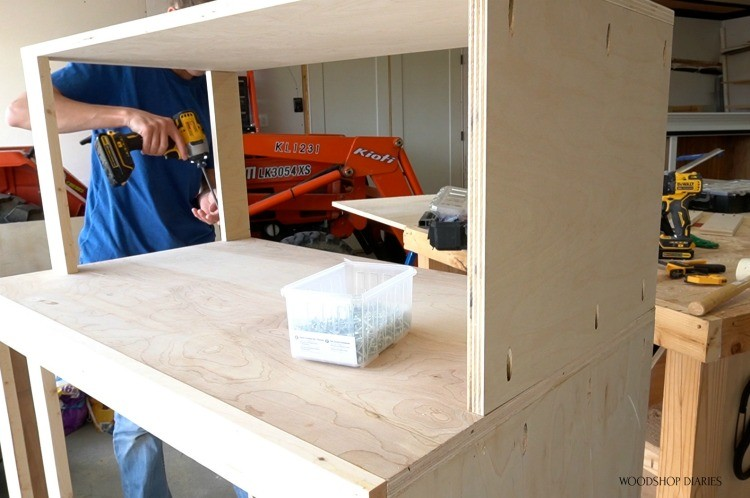 Installing side cabinets with pocket holes and screws