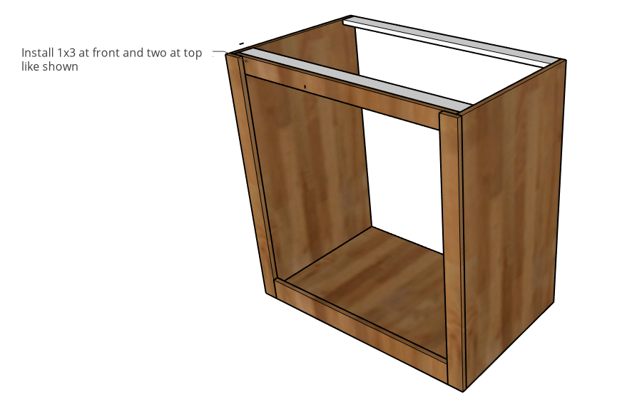 top bracing and support added to dog crate cabinet