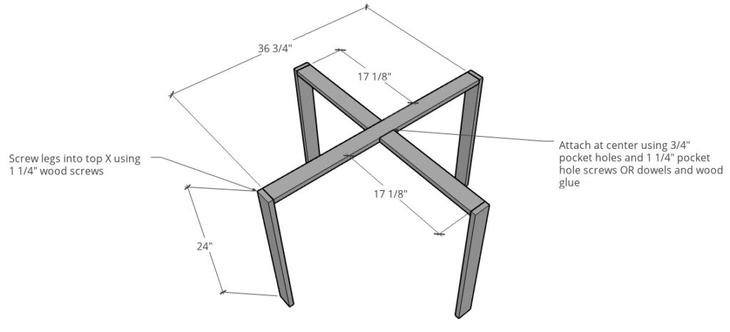 Table legs attached top top X of base