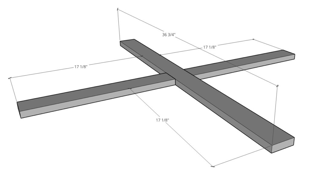 Top table base X diagram with dimensions