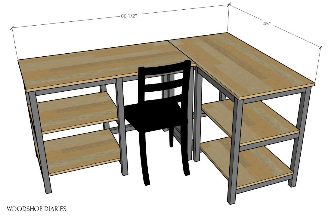Easy DIY Desk in L shape configuration