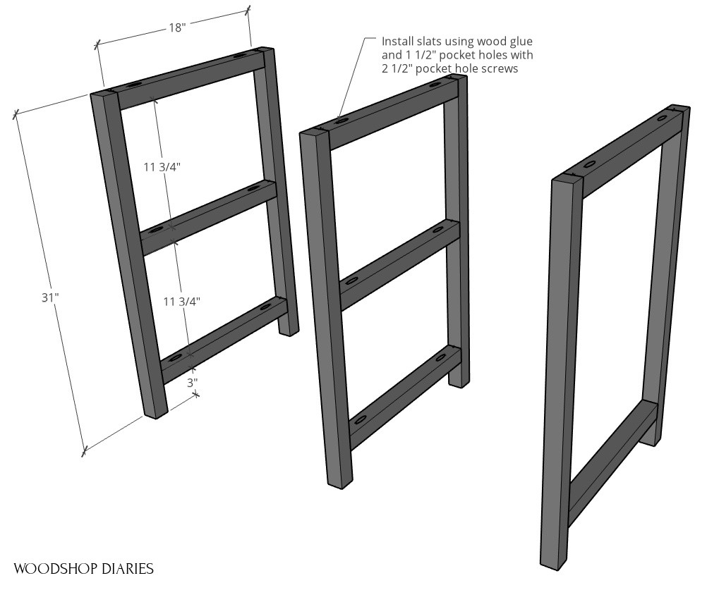 Left, middle, and right side frame pieces assembled