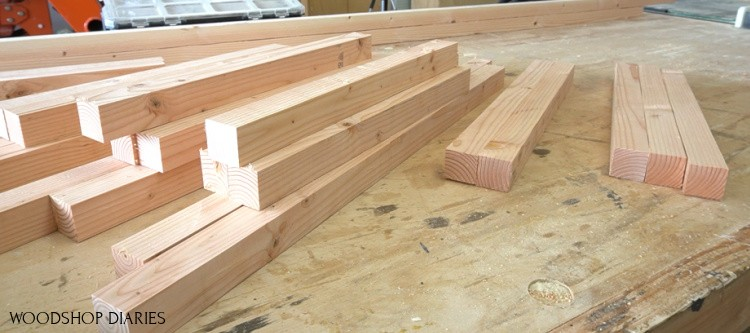 2x2s cut to length and ready to assemble on workbench