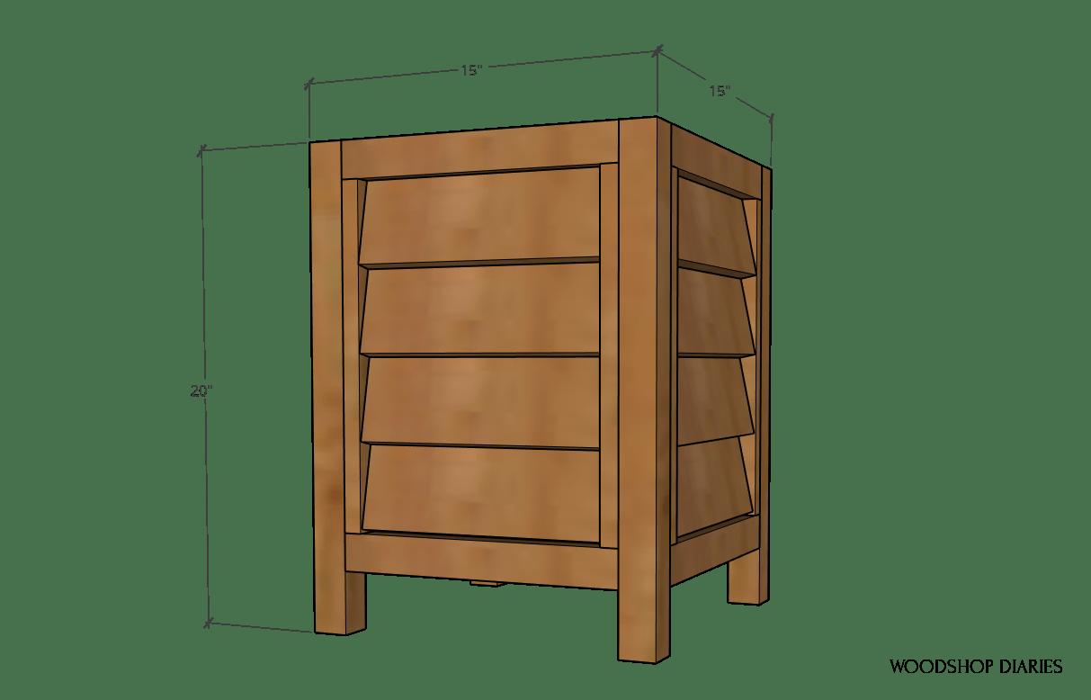 Overall louvered planter box dimension diagram