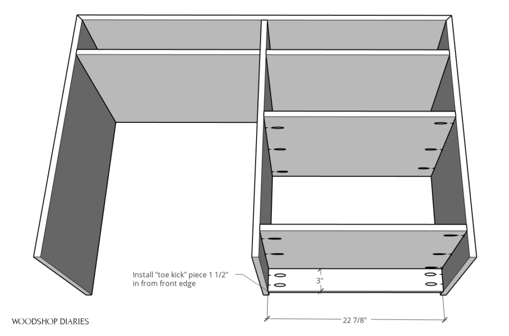 Install toe kick piece into desk side