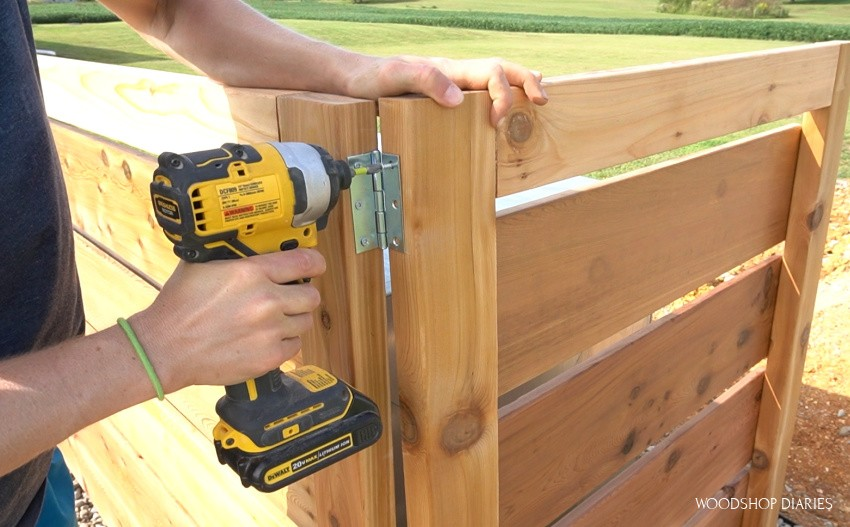 Using hinges to secure two fence panels together so they can fold down easy when they need to be moved
