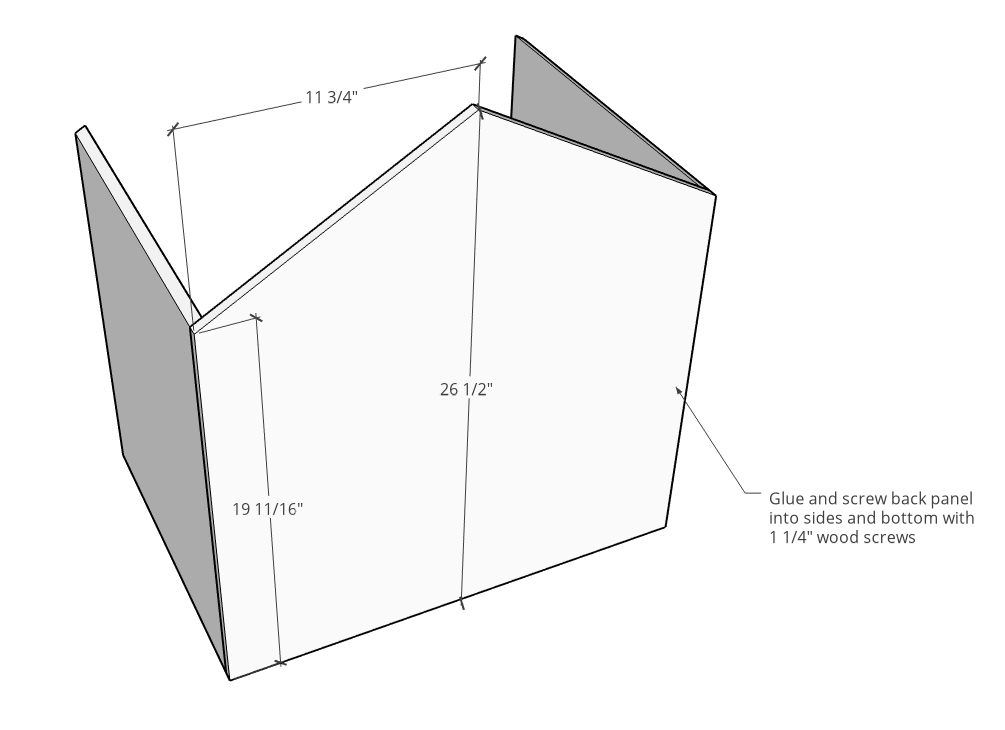 Back panel dimensions and roof line cut shape