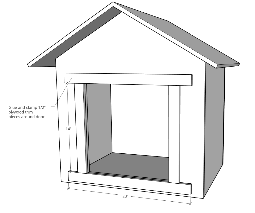 Diagram of door trim around blessing box door on front opening
