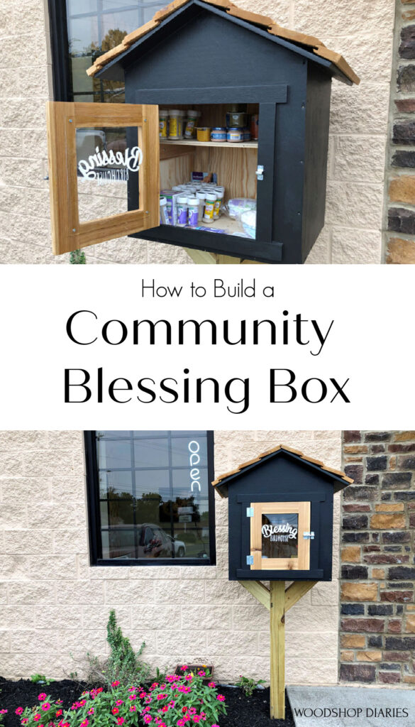 Pinterest collage with Blessing box door open image on top and full blessing box view on bottom