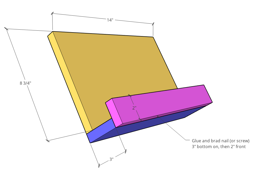 Attach pieces together for book stand--3D diagram
