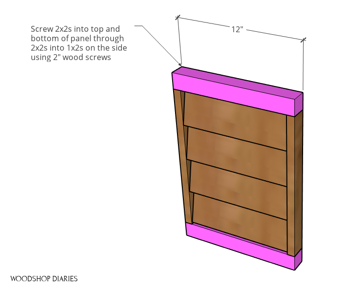 2x2s installed on side panels of louvered planter box diagram