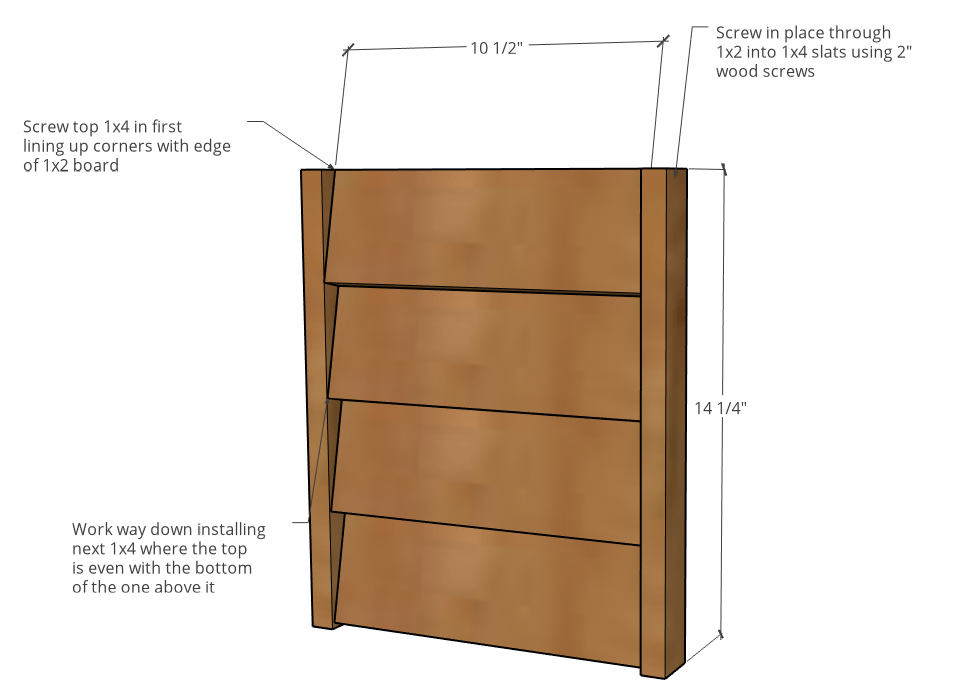 Diagram with dimensions of louvered side panels