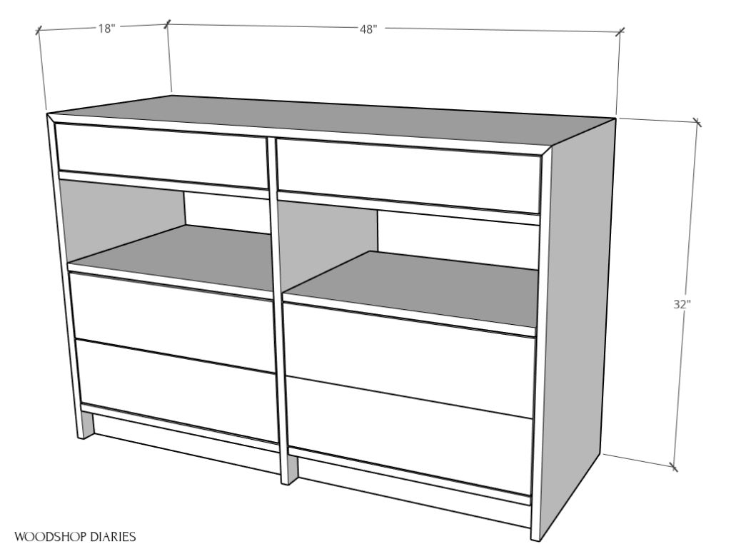 Dresser desk overall dimensions