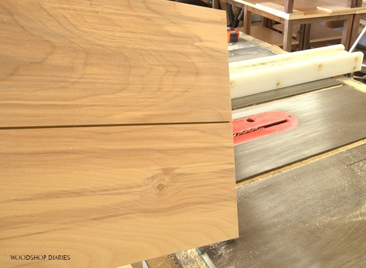 Dado cut in plywood panel to look like fake drawer fronts