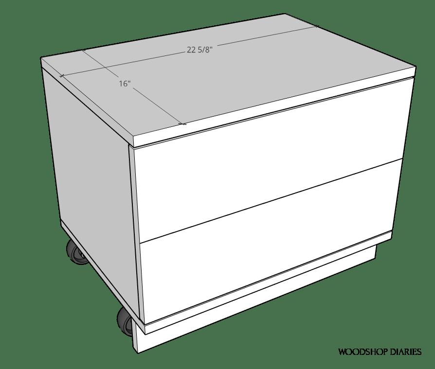 Diagram of storage seat top dimensions