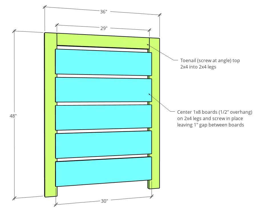 Short fence side dimensions in 3D diagram
